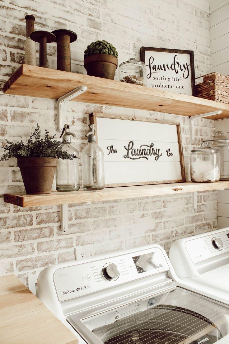 DIY Faux Brick Wall in Laundry Room | Faux brick walls ...