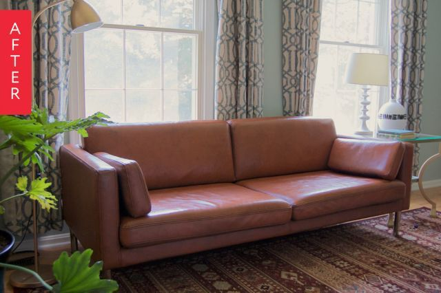 Before After A Painted Leather Sofa Surprise Paint Leather