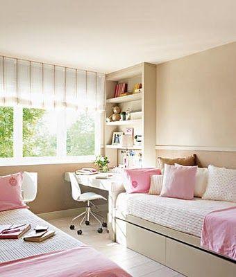 shared bedroom, desks for each kid
