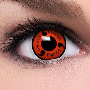 FUNZERA®[Shanringan] Lentilles de Contact de Couleur Rouge-Noir «Naruot» + 10ml Solution + Récipient Gratuit -Sans Correction- Qualité de…