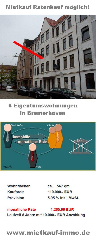 Vintage  Eigentumswohnungen in Bremerhaven zu verkaufen privater Mietkauf Ratenkauf