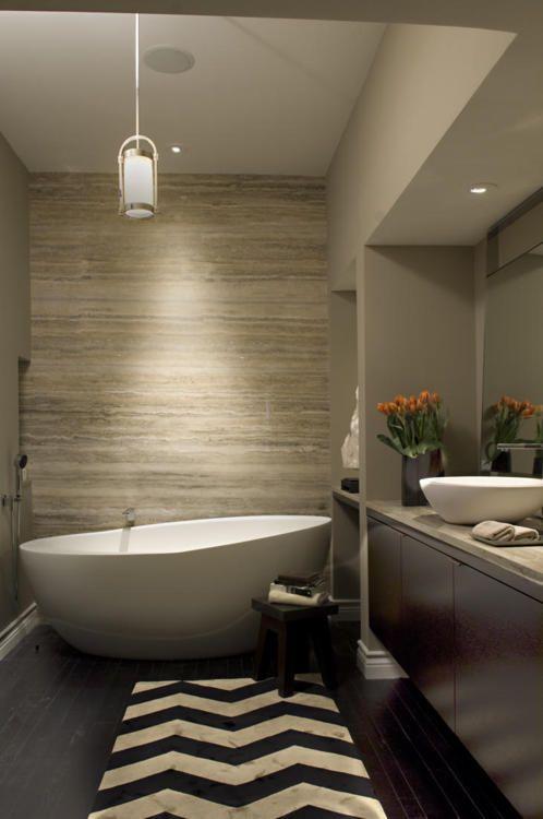 Bathroom Chevron Runner Leads To Tub