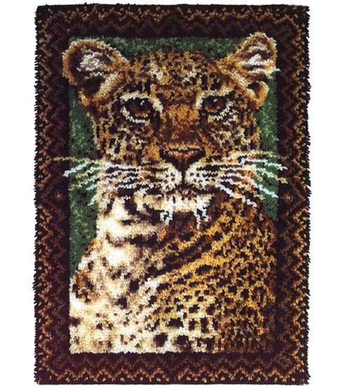 Wonderart 27''x40'' Latch Hook Kit-Leopard