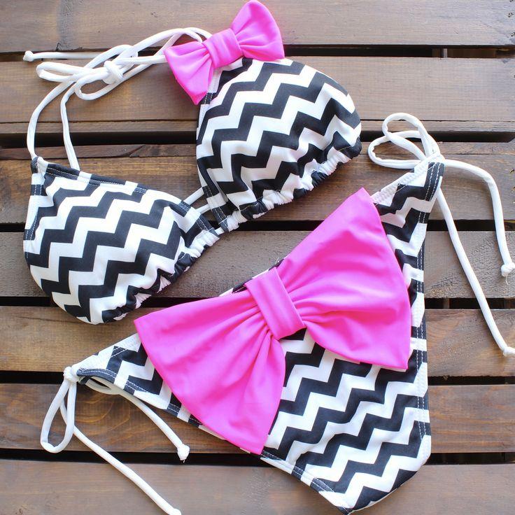 sassy chevron bikini with neon pink bow – shophearts