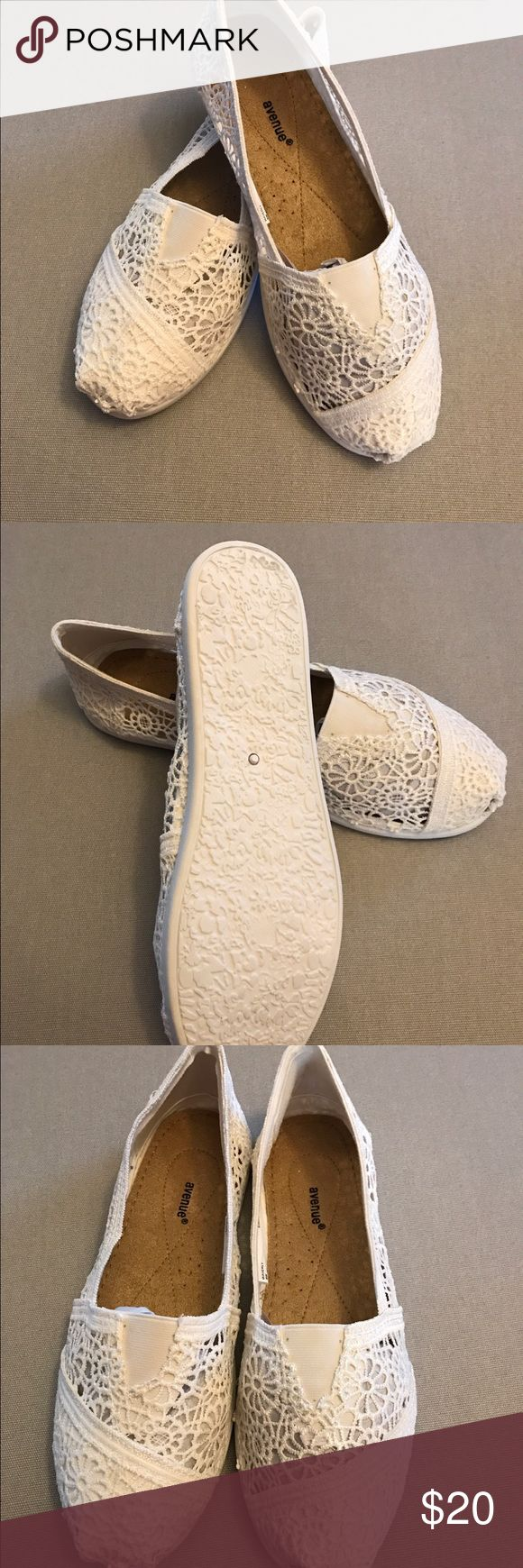 Canvas Crocheted Flats Brand New. Never Been Worn. Great Summer Shoes. White canvas, crocheted flat. Rubber sole makes them super comfy. Avenue Shoes Flats & Loafers