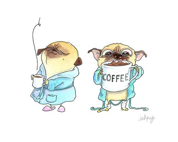 Coffee Pugs Handmade Greeting Card - Pug Card or Pug Stationery for Coffee Lover & Morning Person from InkPug!