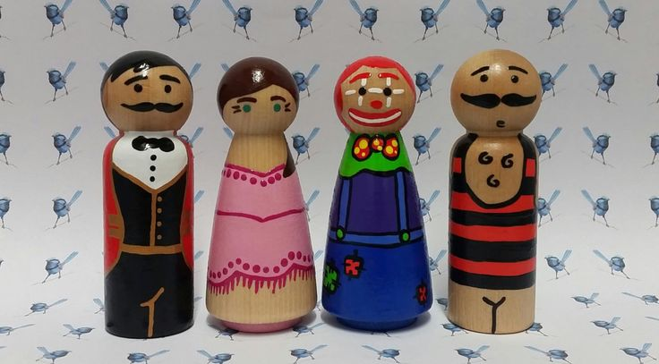 Wooden Peg Dolls - Circus by bluewrenstudios on Etsy