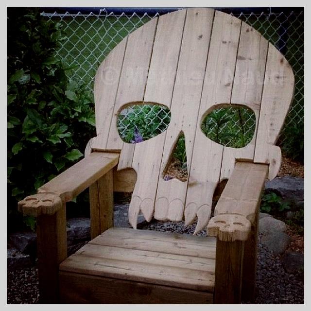 Wood Skull Lawn Chairs ~ Skull deck chair boneyard pinterest gardens awesome
