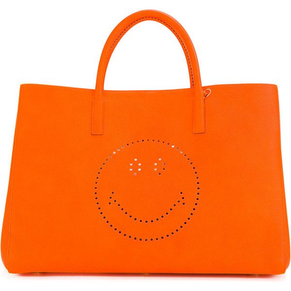 Anya Hindmarch smiley 'Ebury' tote (£1,010) ❤ liked on Polyvore featuring bags, handbags, tote bags, orange, neon orange handbag, neon orange purse, anya hindmarch purse, neon tote bags and neon purse