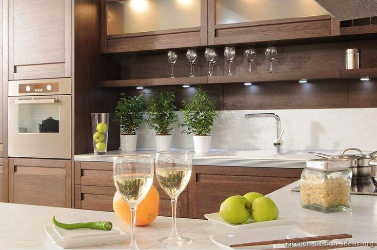 #Kitchen Idea of the Day: Modern Dark Wood Kitchen with lighted backsplash shelf