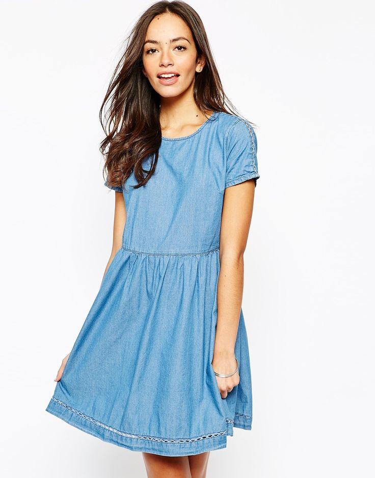 Blue denim smock dress
