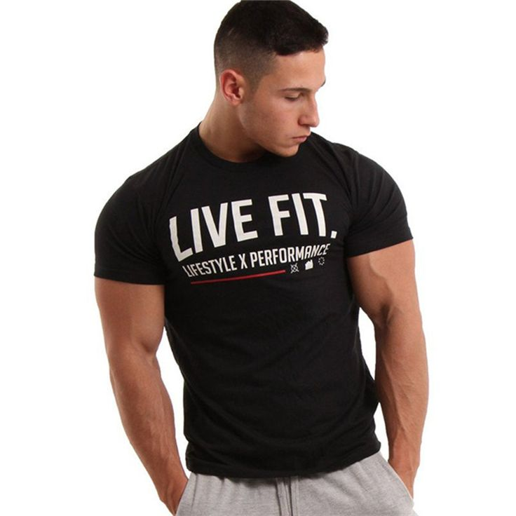Men Summer style T-shirts Fitness Bodybuilding Slim fit T Shirt Fashion fashionable Male Short sleeved cotton Tees tops clothing
