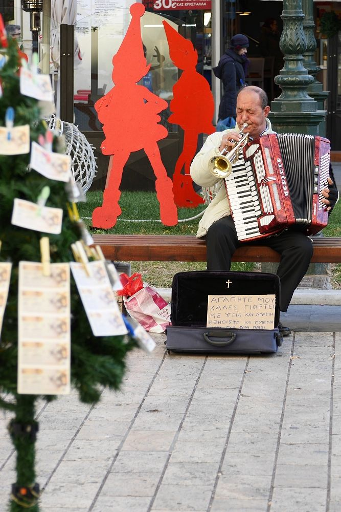 Μουσικός του δρόμου στην Αριστοτέλους (Δεκέμβριος 2016)