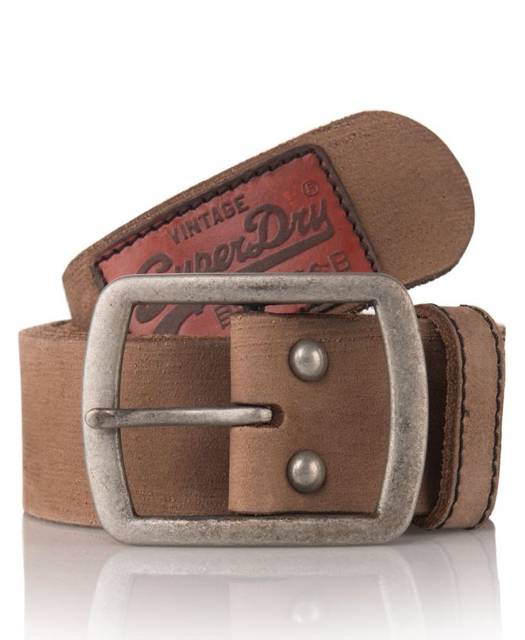 Superdry Leather Belt in a Box in light Brown