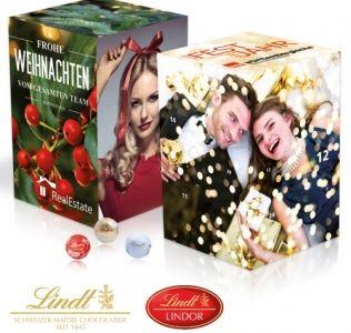 Promotional advent calendar extra large cube Lindt chocolate advent calendar with 24 windows