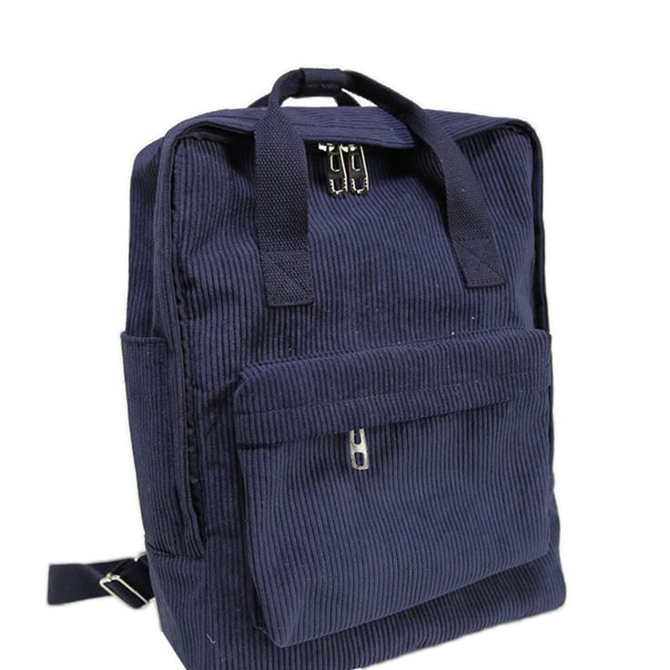 This Deals2016 New Fashion Simple Casual Stripe Corduroy Couples Backpack School Student Candy Color Preppy ZD2052016