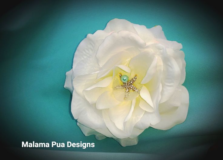 white rose hair clip crystal starfish and mint teal pearl center beach wedding hair flowerssilk