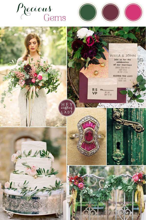 I'm looking more at the darker sort of burgundy color, and then gold instead of the pinkish color to go with the green. Emerald and Antique Ruby Wedding Inspiration