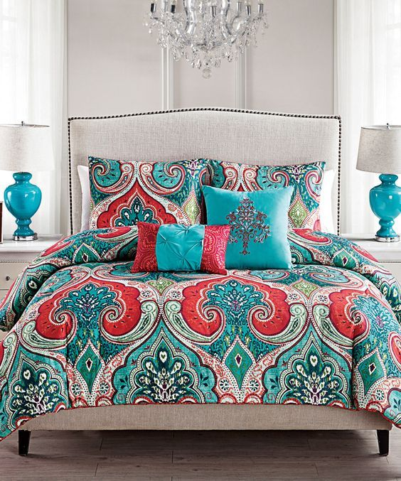 Look at this Teal & Red Casablanca Comforter Set on #zulily today!: