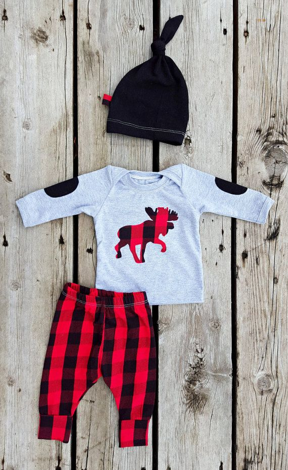 Mad for Plaid Moose Coming Home Outfit Gender by brambleandbough