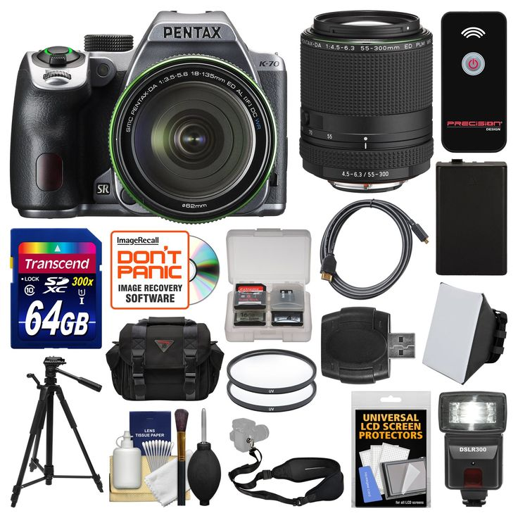 Pentax K-70 All Weather Wi-Fi Digital Camera & 18-135mm WR Lens (Silver) with 55-300mm Lens + 64GB Card + Case + Flash + Battery + Tripod + Kit. KIT INCLUDES 18 PRODUCTS -- All BRAND NEW Items with all Manufacturer-supplied Accessories + Full USA Warranties:. [1] Pentax K-70 All Weather Wi-Fi Digital Camera & 18-135mm WR Lens (Silver) + [2] Pentax DA 55-300mm Lens + [3] Transcend 64GB SDXC 300x Card + [4] Spare D-LI109 Battery +. [5] Precision Design DSLR300 Flash + [6] PD 1500 DSLR…