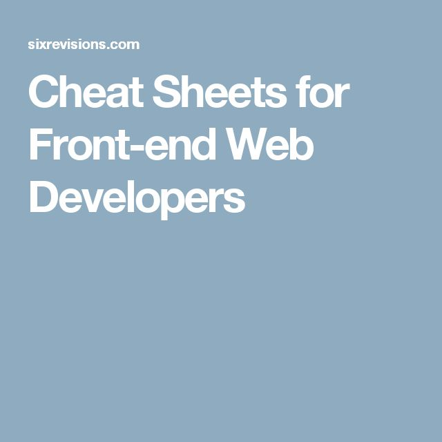 cheat sheets for front end web developers