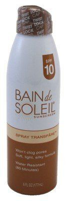 Bain De Soleil SPF#10 Transpare Continuous Spray 6 oz. by Bain De Soleil. $12.49. Soft, Light, Silky Formula. Water Resistant (Up To 80 Min). Won't Clog Pores. Non-Greasy Or Sticky. Won't Clog Pores Sandproof UVA & UVBBain de Soleil® Spray Transpare SPF 10 gives you a truly unique and sensual experience. This luxurious formula won't clog pores or leave you feeling greasy or sticky. A fine-mist spray applies quickly and evenly at the touch of a button. Yu can tr...