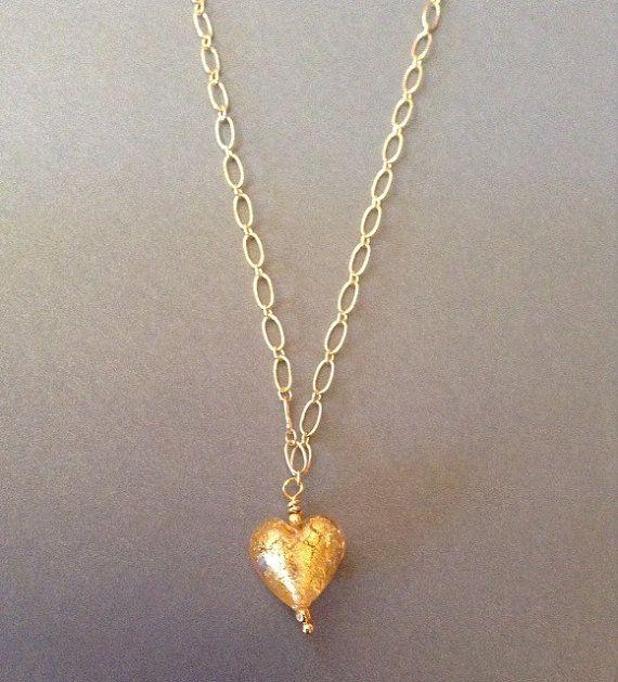 Gold Heart Pendant necklace Venetian glass by ScarletMareStudio  $42