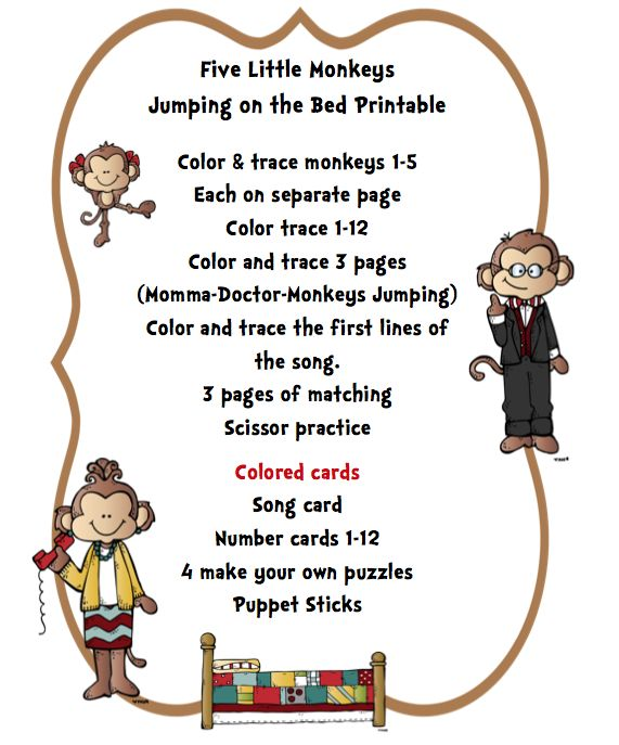 preschool printables five little monkeys jumping on the bed printable - Coloring Pages Monkeys Jumping Bed