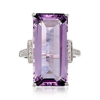 Ross-Simons - 15.50 Carat Amethyst and .10 ct. t.w. Diamond Ring In Sterling Silver - #773196