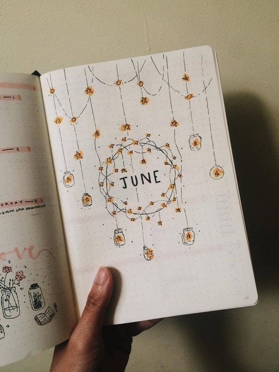"""My June """"intro"""" page. Tried to go for a fairy lights / starry theme. : bulletjournal"""