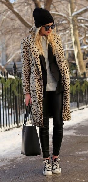 Leopard print coat, animal print, leather leggings, converse all stars, athleisure, street style, beanie, hoodie under coat... - Fall-Winter 2017 - 2018 Street Style Fashion Looks