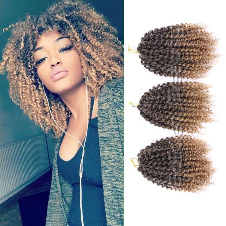 """Golden beauty 3 stks/set 8 """"marlibob synthetische kinky twist gehaakte vlechten haar ombre vlechten krullend haak hair extensions"""