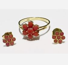 Starožitné evropského přírodního ne na bázi barviva Red Coral Flower kruhové náušnice 14k 8k podepsal!