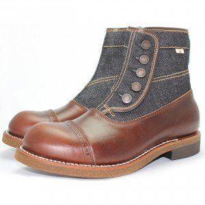 MD-016 Momotaro Jeans Denim Button Boots (Brown)   Sapato 35d383886a