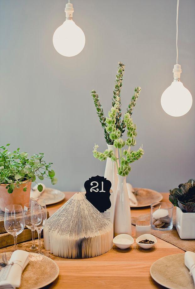 All natural modern wedding table decor.