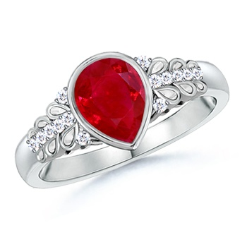 Angara Floral Metal Border Natural Ruby and Diamond Vintage Ring in Platinum Nl4Mf