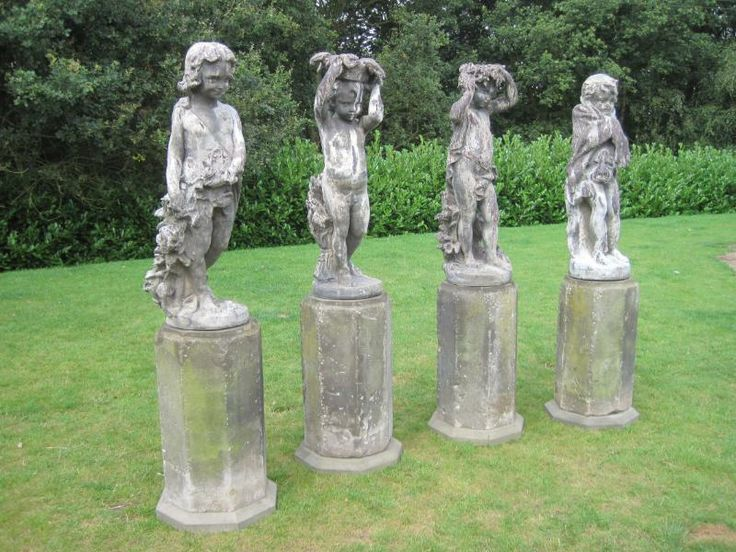 Attractive UKAA Buy And Sell Victorian Antique Set Of 4 Lead J P White Statues   The 4  Seasons Online And For Sale In Our Architectural Reclamation Garden Statuary  ...