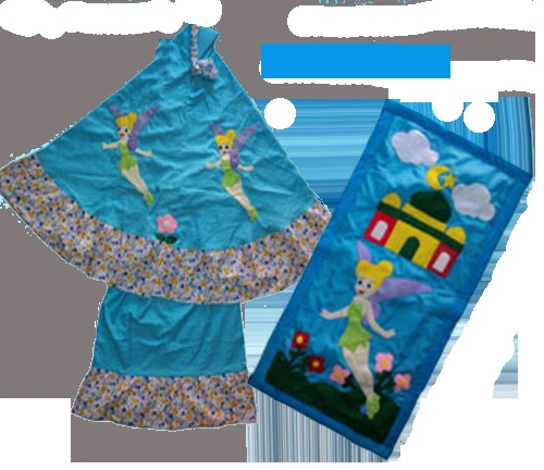 Mukena anak & Sajadah anak Kartun Motif Tinker Bell