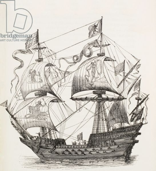 Man-of-War of the 16th century, c.1880 (litho)