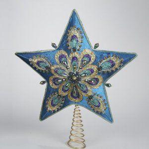 "14"" Regal Peacock Teal Satin Ornately Beaded Star Christmas Tree Topper"
