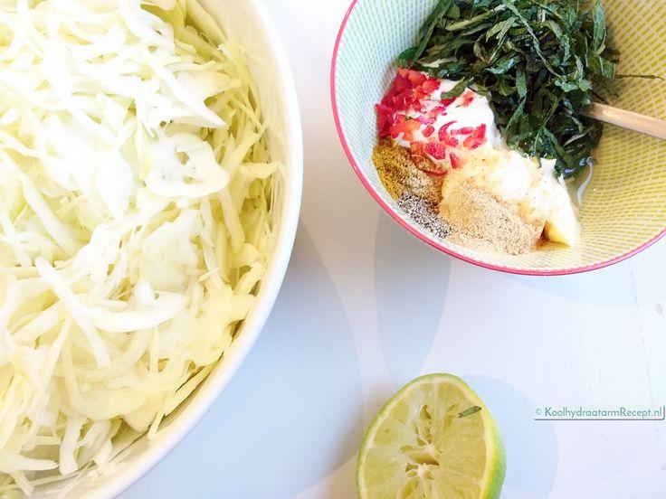 witte koolsalade met munt, ingrediënten
