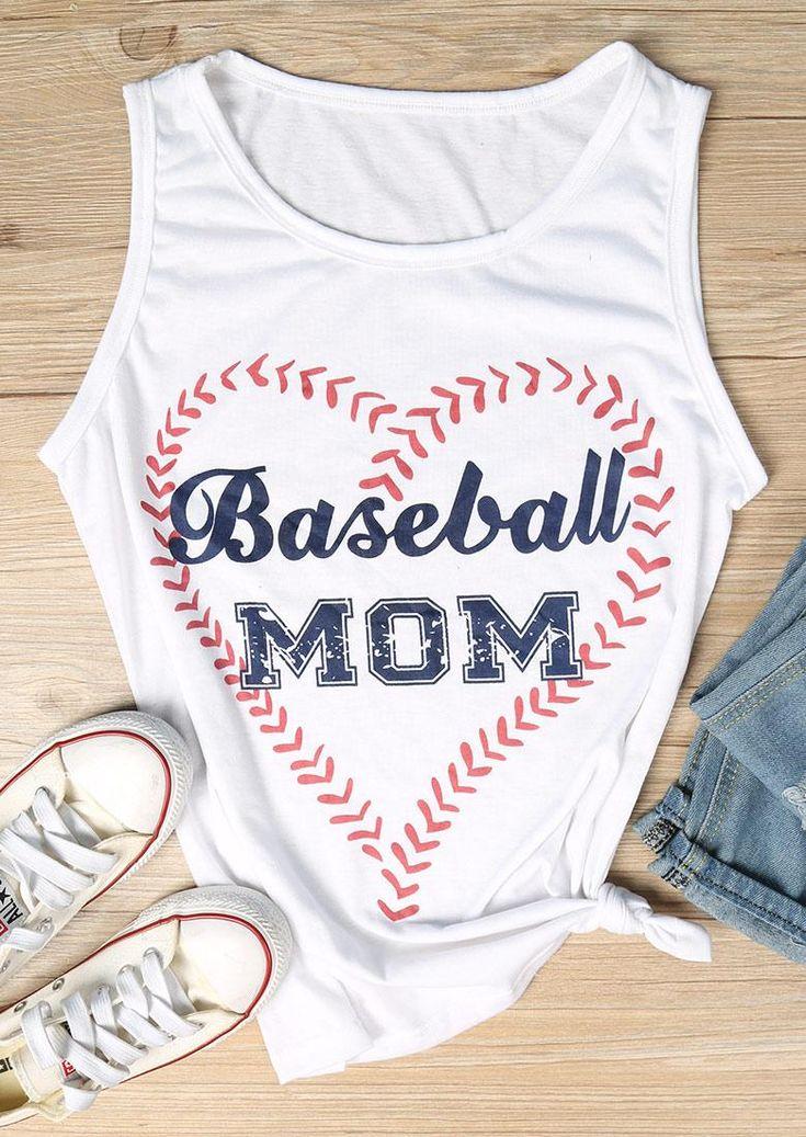 #AdoreWe Fairy Season Clothing~~Shirts & Tops - Baseball - Baseball Mom Heart Tank - AdoreWe.com