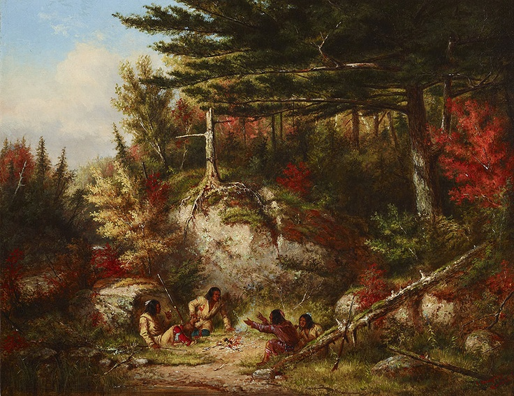 Indians at Council Rock by Cornelius Krieghoff