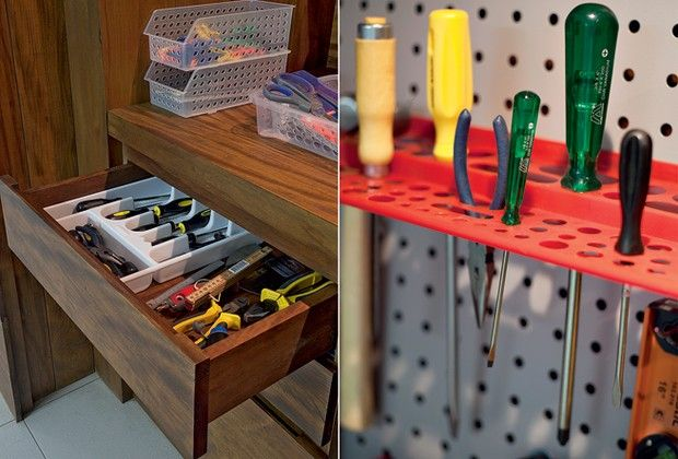 The drawers have dividers to separately store the tools.  the smallest parts are in plastic baskets on the wooden bench.  Beside, the metal plates with snap shelves leave accessible the most used tools (Photo: Pedro Abude)