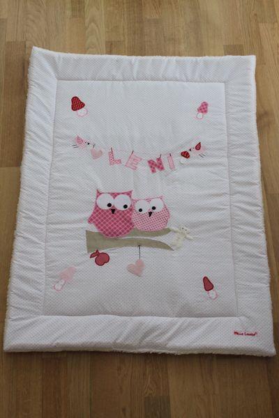 """Krabbeldecke """"rosa-rote Eulenliebe"""" für Mädchen"""