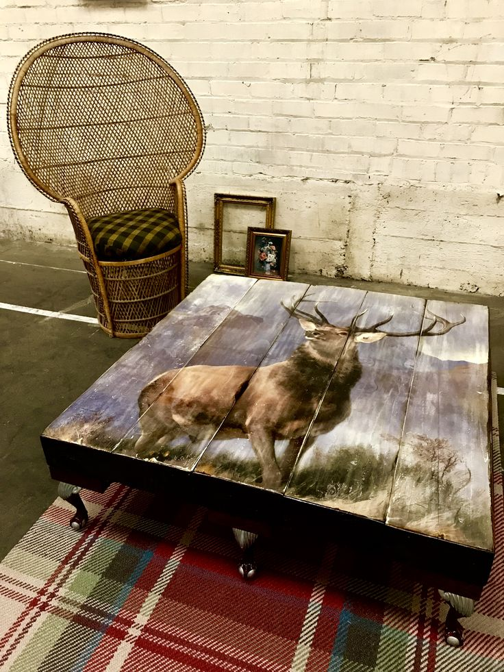Grand Hand Distressed/Painted Highland Stag Coffee Table. Jacobeon stain, french oak newell - queen anne legs.