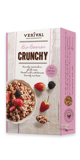 MUESLI WITH WILD BERRIES  Crunchy clusters of oats and rice crispies, sweetened with Austrian beet sugar, flavoured with strawberries, raspberries and blackberries, then toasted and mixed to perfection by hand in the Austrian Tyrol. Very berry and 100% organic.