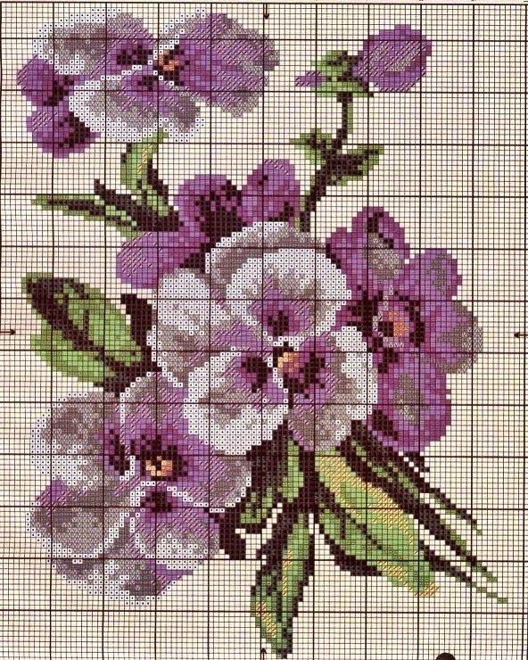 Wzór pięknych bratków haftem krzyżykowym | Haft krzyżykowy - inspiracje i wzory
