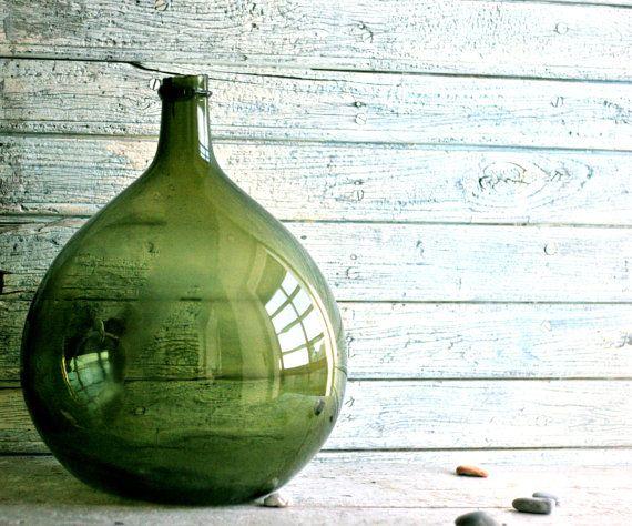 Glass Jar, Demijohn, Carboy, Blown glass, Flower pot, Money box, Home decor, Vintage 1800, Big Glass bottle, Italian, French, Housewares on Etsy, $282.69
